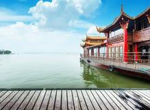 Hangzhou. Traditional ship at the Xihu (West lake), Hangzhou, China stock photos