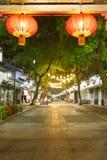 Hangzhou traditional street hanging red lanterns Stock Images