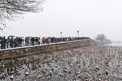 Hangzhou unmelted snows on broken bridge. Royalty Free Stock Images