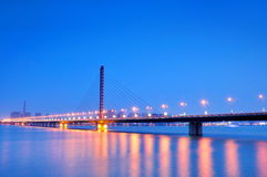 Hangzhou West Hing Bridge Night Royalty Free Stock Photos