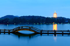 Hangzhou west lake beautiful scenery in the dusk Stock Photography