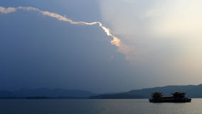 Hangzhou west lake with clouds Royalty Free Stock Image
