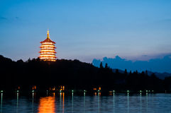 Hangzhou west lake at dusk, China Royalty Free Stock Photos