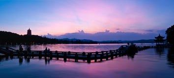 Hangzhou west lake at dusk, China Stock Photography
