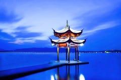 Hangzhou West Lake Jixian Pavilion Night Stock Photography