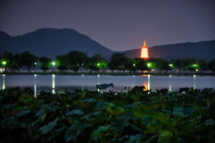Hangzhou West Lake Night Stock Images