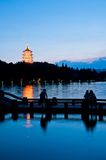 Hangzhou West Lake Night Stock Photo