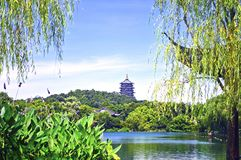 Hangzhou West Lake With Reflection of Leifeng Pagoda in a Sunny Day. West Lake is one of the Famous Tourist Destinations from Zhejiang Province, China royalty free stock photo