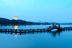 Hangzhou west lake scenery in the evening Royalty Free Stock Photos