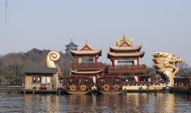 Hangzhou West Lake Scenic Area. A big wooden dragon boat in  Hangzhou West Lake Scenic Area, winter, Zhejiang province, China Royalty Free Stock Image