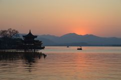 Hangzhou West Lake Scenic Landscape. In sunset setting royalty free stock photo