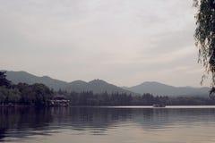 hangzhou Wieczór przy jeziorem Fotografia Royalty Free