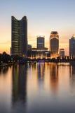 Hangzhou Wulin Grand Canal en la oscuridad Foto de archivo libre de regalías