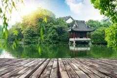 Hangzhou, Zhejiang, China. Pavilions in a park in Hangzhou, Zhejiang, China stock photo