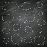 Hanhand-gezeichnete Sprache-und Gedanken-Blasen Stockfoto