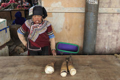 Hani woman selling bamboo in the Shengcun local market in YuanYang. Hani are one of the 56 minorities in China and are native of Y Royalty Free Stock Photo