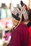 Hani Woman Smoking Old Pipe Stock Photo