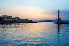 Hania harbour, Crete, in the evening Royalty Free Stock Image