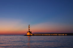Hania lighthouse at dusk Stock Photo