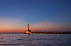Hania lighthouse at dusk. Crete, Greece Stock Photo