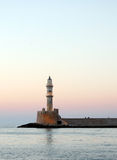 Hania lighthouse at dusk Royalty Free Stock Photography