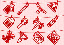 Haning Love Icons. Abstract  background with symbols for love theme Stock Photos