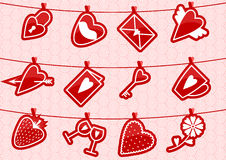Haning Love Icons. Vector illustrution with love icons hanging on the rope by clothespegs Stock Photos