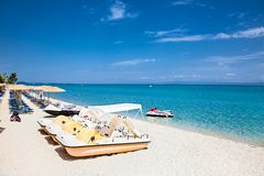 Free Hanioti Beach With Colorful Pedalos Docked, Halkidiki, Greece. Royalty Free Stock Photos - 86155758