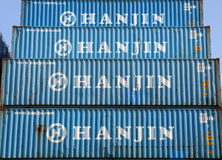 HANJIN Shipping containers Stock Image