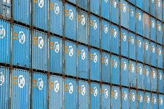 HANJIN Shipping containers Royalty Free Stock Photos