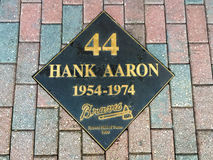 Hank Aaron Hall of Fame Plaque. Atlanta Braves legend Hank Aaron's plaque outside the entrance the Braves Museum Stock Photos