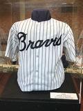Hank Aaron replica 1969 jersey display. A replica of Hank Aaron`s 1969 home jersey is on display at Sun Trust Park in Atlanta, GA Royalty Free Stock Photo