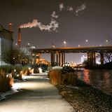 Hank Aaron trail in Milwaukee Wisconsin along river at night Royalty Free Stock Images
