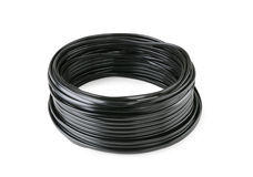 Hank of black cable isolated stock photo