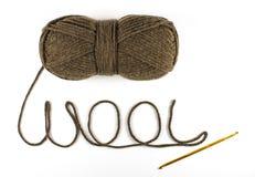 Hank de fil de laine avec le crochet photographie stock libre de droits