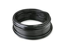 Hank del cable negro aislado Foto de archivo