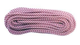 Hank des langen roten und weißen Kletterseils lokalisiert Lizenzfreie Stockfotografie