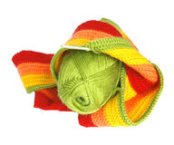 Hank  of green yarn. And a scarf Royalty Free Stock Image