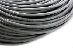 Hank of a grey network cable Stock Photos