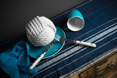 A hank of rope on the plate Royalty Free Stock Photography