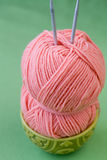 Hank yarn skein of yarn and knitting needles Stock Photos