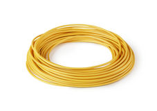 Hank of yellow wire isolated Royalty Free Stock Image