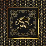 Hank You hand drawn lettering with Art Deco black frame. Stock Photography