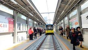 The Hankai Densha Tramway at Tennoji-ekimae station Royalty Free Stock Images