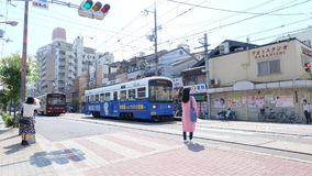 The Hankai Densha Tramway at Tennoji-ekimae station Royalty Free Stock Image
