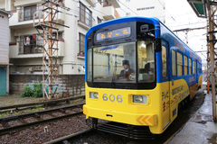 The Hankai Tramway in Osaka is affectionately known as the chin. Chin densha (ding ding train Royalty Free Stock Photo