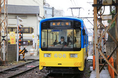 The Hankai Tramway in Osaka is affectionately known as the chin. Chin densha (ding ding train Stock Photo
