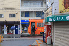 The Hankai Tramway in Osaka is affectionately known as the chin. Chin densha (ding ding train Royalty Free Stock Images