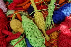 Multi-colored ropes royalty free stock photography