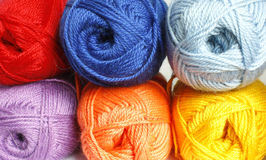 Hanks  of different  colored  yarn. For knitting Stock Photography